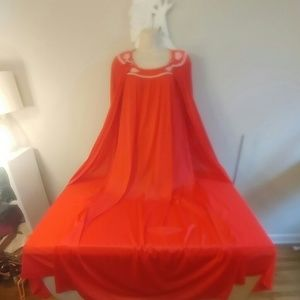 Vintage 70s Lorraine red peignoir set